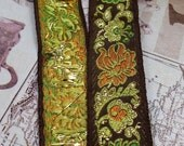 """1"""" Brown Vintage French Embroidered Jacquard Ribbon Trim with metallic gold accents#194-07"""
