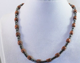 Wood and Hematite Bead Necklace