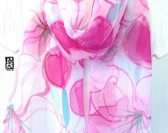 Hand Painted Silk Scarf Floral Pink Silk Scarf, Gift Wrapped, Gift Idea, For Her, Spring Lilies Bouquet, Silk Chiffon Scarf. 10x58 inches.