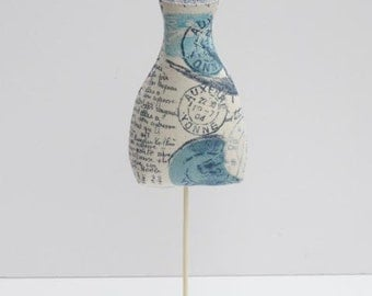 Dress maker form, mannequin shabby chic blue and ivory - dress form pincushion and home decor - gift for girl, mom