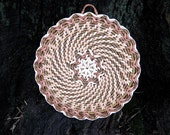 Handwoven wicker coasters Heat resistant round placemats Rustic kitchen decor Wall hanging Eco friendly housewarming gift under 25