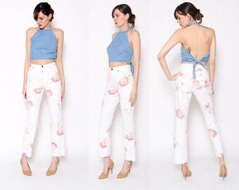 Vintage 90s High Waisted Flower Jeans Spring Summer Floral