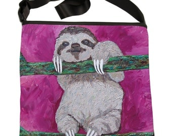 Sloth Large Cross Body Bag, by Salvador Kitti - Support Wildlife Conservation, Read How - From My Painting, Leisurely Life