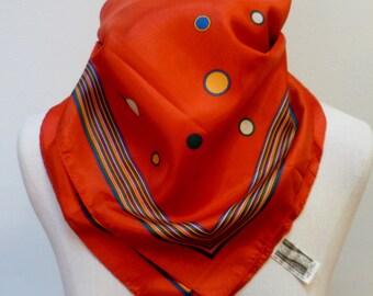 Vintage 60s Red Polka Dot Scarf - NOS