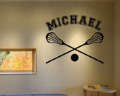 "Lacrosse Wall Decal with Personalized Name 23"" Tall x 28"" Long"