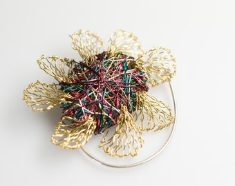 Flower brooch Metal flower brooch pin Abstract flower art jewelry Metal flower sculpture Wire flower brooch Flower jewelry Wire art jewelry.