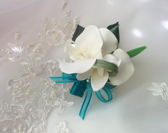 Wedding Natural Touch White/Ivory Orchids Corsage - Silk Beach wedding Corsage