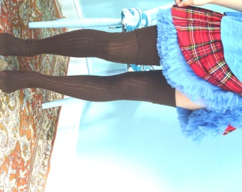 Thigh high - knitted CASHMERE socks - Better than leg warmers - extra long - 110cm leg -CHOCOLATE BROWN - vintage pattern- wool