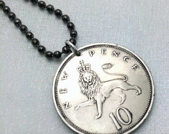 Lion Jewelry - vintage BRITISH Crowned LION coin necklace - 10 new pence coin - lion with crown - leo - man necklace - boyfriend