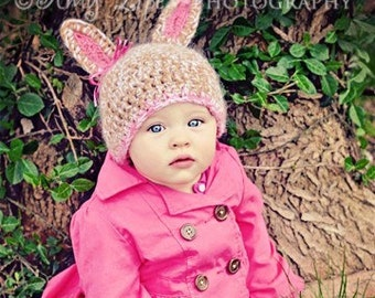 Bunny hat, rabbit hat, bunny rabbit hat in tan homespun. Newborn through adult sizes available. made to order.