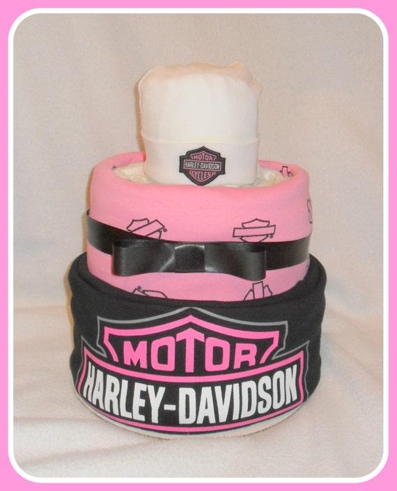 3 Tier ONE OF A KIND Girl Harley Diaper & Receiving Blanket Cake