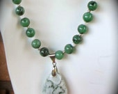 Green agate pendant and beads with shell spacers and sterling silver