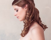 Gold Bridal Headpiece, Pearl Chain Headband, Pearl Halo, Bridal Halo, Wedding Headdress, Bridal Hair Piece, Forehead Piece, Gold Leaves