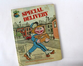 Sesame Street's Special Delivery Book, 1980's Vintage Hardback Book, Retro Collectible, Children's Book