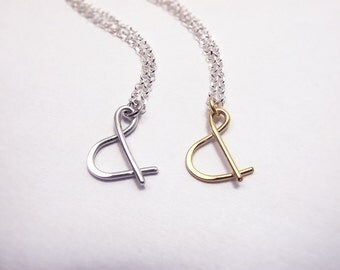 """Ampersand """"&"""" Necklace, Sterling Silver or Gold Filled Wire Wrapped Ampersand Symbol - Best Friend Family Couple Girlfriend Anniversary Gift"""