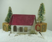 Vintage LARGE PUTZ HOUSE Silver w/ Pink Roof Paper Home Glitter Snow CHRiSTMAS Ornament