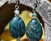 Moss Agate Carved Leaves Dangle Earrings