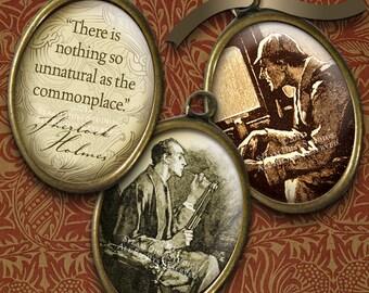Victorian Sherlock Holmes - Steampunk 18x25mm Ovals - Sir Arthur Conan Doyle - Moriarty - Watson - Digital Downloads - Steampunk Printables