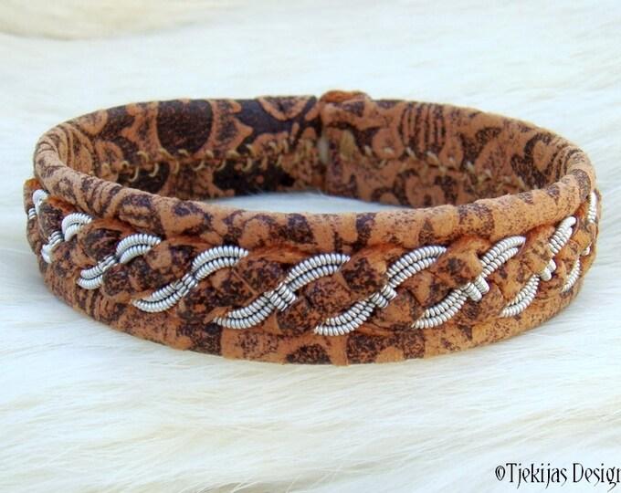 "Sami Lapland Viking Bracelet FENRIR size 17 cm / 6.7"" - 20% off OUTLET ready to ship - Brown Flower Lambskin Bracelet with Pewter Braid"