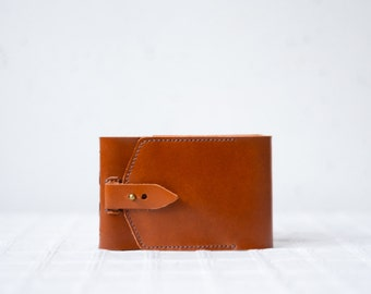 Leather Pocket Notebook (A6) - brown leather reporter journal
