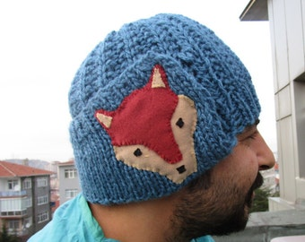 Fox hat, adult fox hat, animal hat, Winter fox hat  for women and for men, valentines day gift, christmas gift