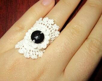 White Ring - Cotton Flower Crochet - Handmade Jewelry - wedding accessories-bridesmaid accessories