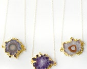Natural Gold Dipped Amethyst Crystal Stalactite Slice Necklace