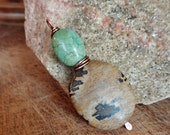Stack. Artisan Southwestern Gemstone Copper Pendant with Turquoise and Dalmatian Jasper Stones-Simple Neutral Boho Gypsy Pendant Only