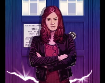 Amy Pond Doctor Who Companion Amelia Tardis Original Illustration by Jacob Sparks Painted Poster Print- Three Sizes Available