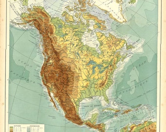 Vintage Map of North America, 1930s Physical Map