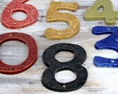 Stoneware House Numbers - Custom Color Choice - Black White Blue Red Green Mustard - Curb Appeal -  One 1 NUMBER - Made to Order