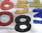 Address Numbers - Stoneware House Numbers - Custom Color Choice - Black White Blue Red Green Mustard -  One 1 NUMBER - MADE to ORDER