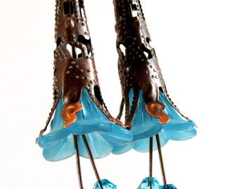 Teal Fairy Earrings  Antique Copper Filigree Bead Cap & Blue Lucite Flower with Turquoise and Indicolite Swarovski Crystals  Beaded Jewelry