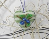 Needle felted heart ornament with blueberries, pincushion, blue stripe wool felt heart brooch by Curly Furr, felted gift tag,  Mothers Day