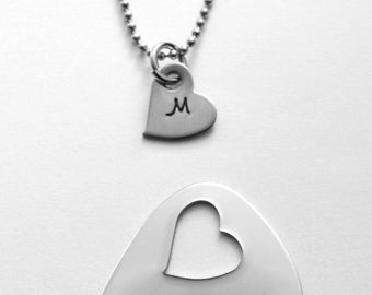 His and Hers Guitar pick with case and necklace - hand stamped stainless steel - Any text/design stamps that fit!