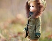Miss yo Winter Coat with Fluffy Hat for YoSD 1/6 BJD - doll outfit / cloth - Green