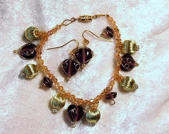 Handmade Golden Demi Parure - Bracelet & Earrings - Czech Crystals and Wire Wrapped Amethyst Glass
