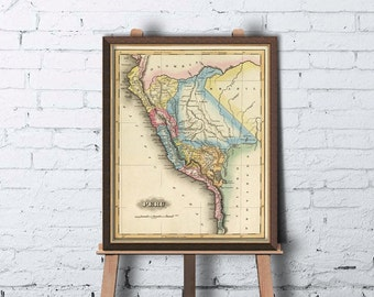 Peru map - Old map of Peru archival print - Old maps restored - fine reproductions