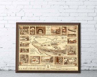 Palo Alto pictorial  map -  Archival print - Illustrated  map of Palo Alto