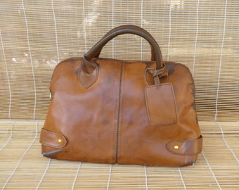 Vintage Lady's Aged Brown Faux Leather Hand Bag Zip Up Top Purse