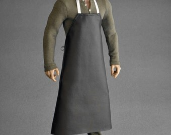 1/6th scale black apron for: action figures and dolls