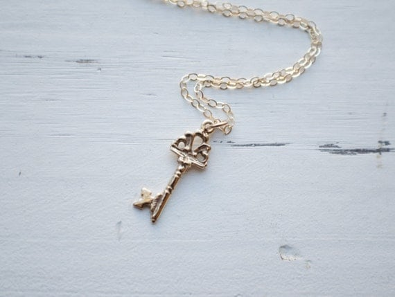 Gold Key Necklace - 14k Gold Fill Necklace | Solid Bronze Skeleton Key Charm | Sisters Gift | Minimalist Gold Jewelry | Bronze Jewelry