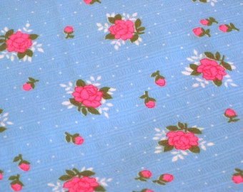 """Vintage Fabric - Hot Pink Roses on Turquoise Cotton Flannel - By the Yard x 44""""W - Retro Sewing Material -  Yardage"""
