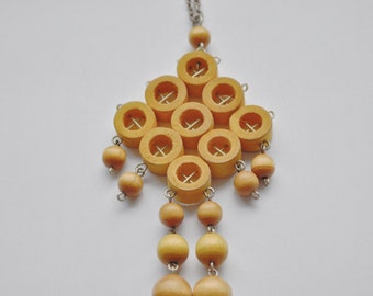 FINLAND Aarikka Mustard Yellow Kinetic wood pendant necklace 1970s Mod Abstract Mid Century Modern October Christmas Gift