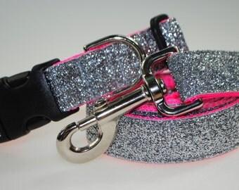 "Silver Metallic Glitter 1"" Width Adjustable Collar & Leash"