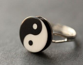 Yin Yang Ring. Balance Ring. Yang Yin Ring. Black and White Ring. Taoist Ring. Silver Ring. Button Ring. Adjustable Ring. Handmade Ring.