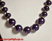 Purple Pearls with Gold Accents - SRAJD Glass Pearls Royal Purple Large