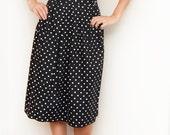 Vintage Polka Dot Pleated Black and White Skirt Size Large
