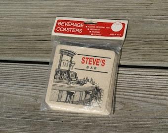 Vintage Beverage Coasters Steve's Bar Unopened Made in USA Set of 6