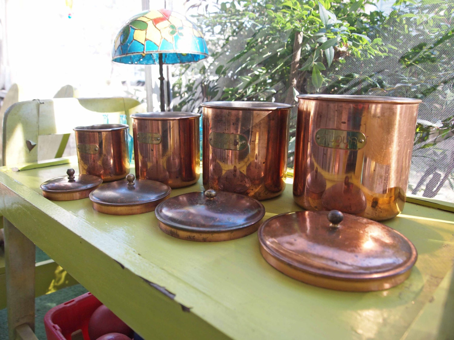 Copper Canisters Kitchen Canisters Kitchen Decor by APeaceofMyMind